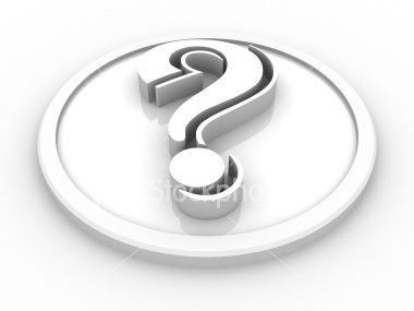 White question mark with grey shade